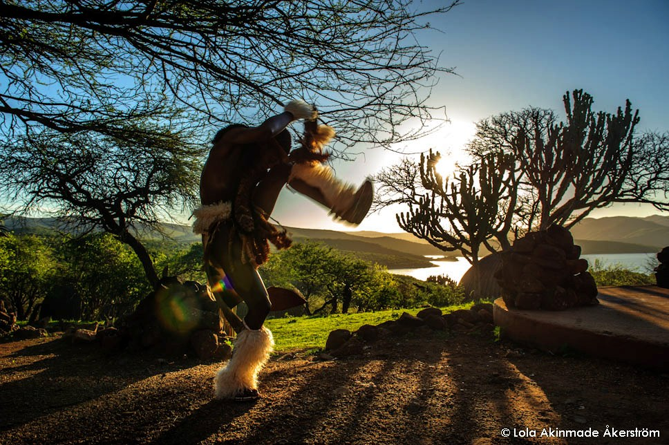 Zulu dancing at Shakaland, Eshowe, KwaZulu-Natal, South Africa - Travel photography by © Lola Akinmade Åkerström
