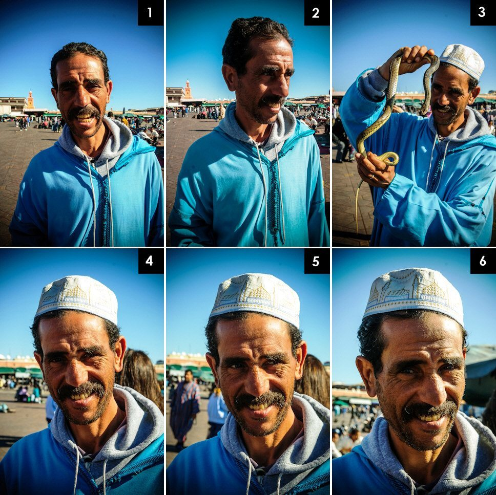 Snake charmer in Djemaa El Fna Square, Marrakech, Morocco - Travel photography by Lola Akinmade Åkerström