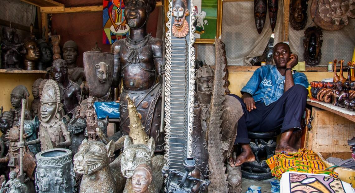 Postcard: Selling sculptures at Lekki Market, Lagos